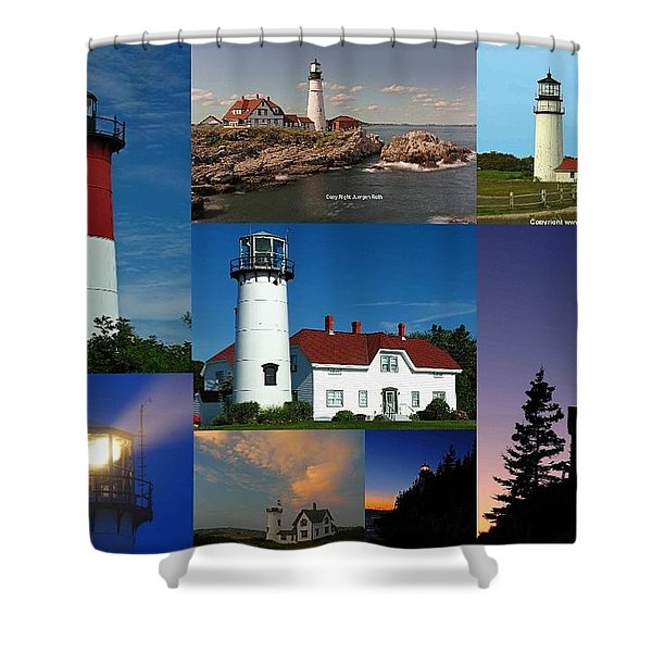 New England Lighthouse Collection Shower Curtain by Juergen Roth