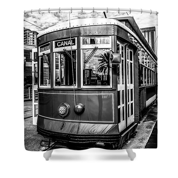 New Orleans Streetcar Black And White Picture Shower Curtain by Paul Velgos