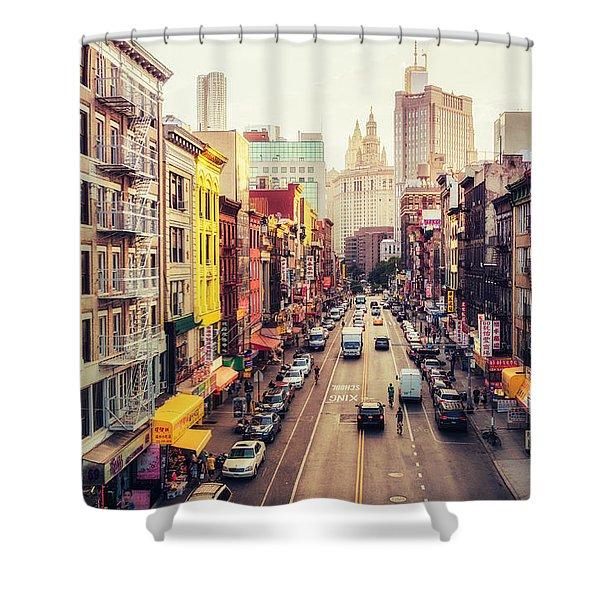 New York City - Chinatown Street Shower Curtain by Vivienne Gucwa