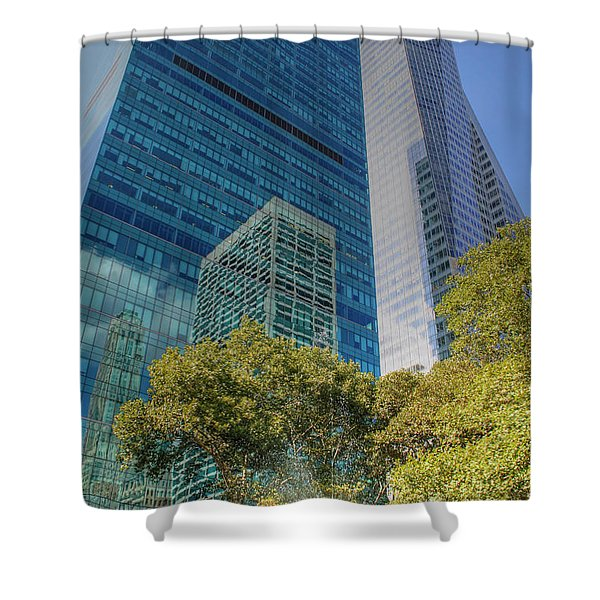 New York City Reflections Shower Curtain by Bob Hislop