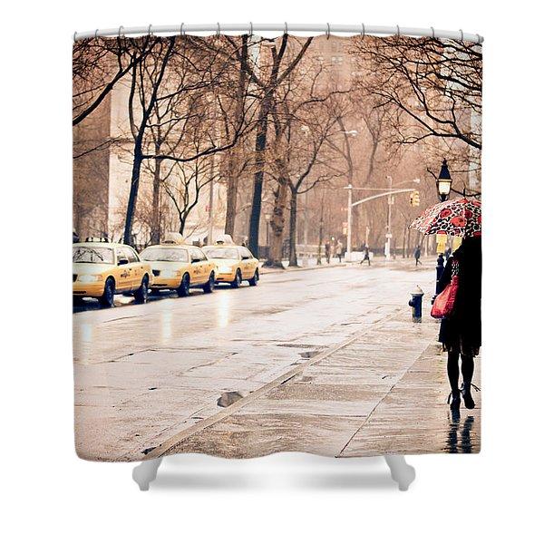 New York Rain - Greenwich Village Shower Curtain by Vivienne Gucwa