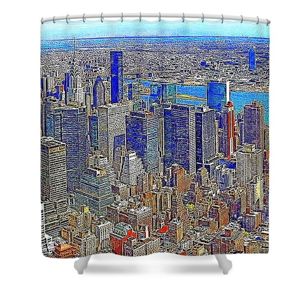 New York Skyline 20130430v3 Shower Curtain by Wingsdomain Art and Photography
