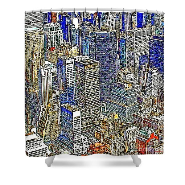 New York Skyline 20130430v5-square Shower Curtain by Wingsdomain Art and Photography