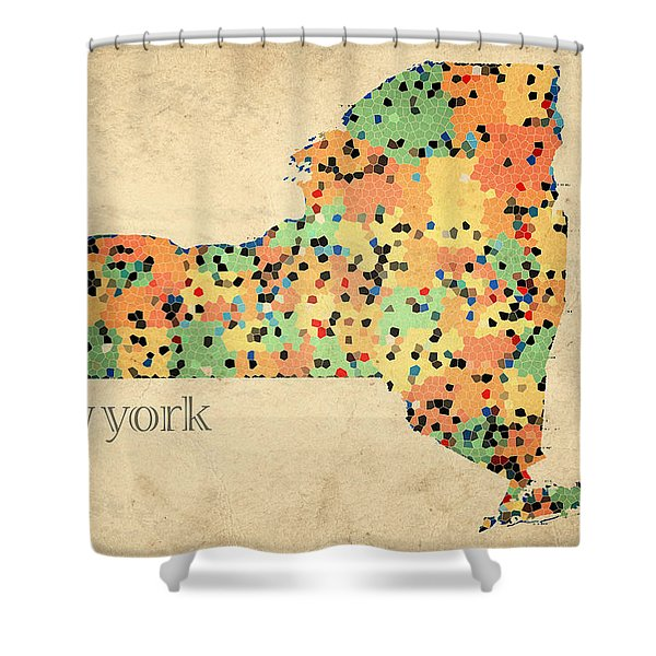 New York State Map Crystalized Counties on Worn Canvas by Design Turnpike Shower Curtain by Design Turnpike