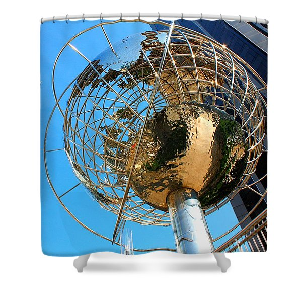 New York Steel Globe Shower Curtain by Jenny Hudson