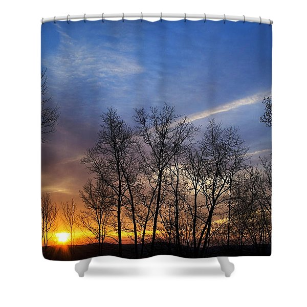 New York Sunset Shower Curtain by Christina Rollo