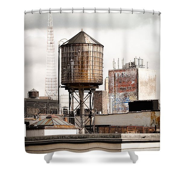 New York Water Tower 16 Shower Curtain by Gary Heller