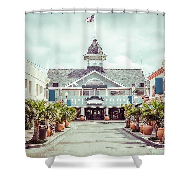 Newport Beach Balboa Main Street Vintage Picture Shower Curtain by Paul Velgos