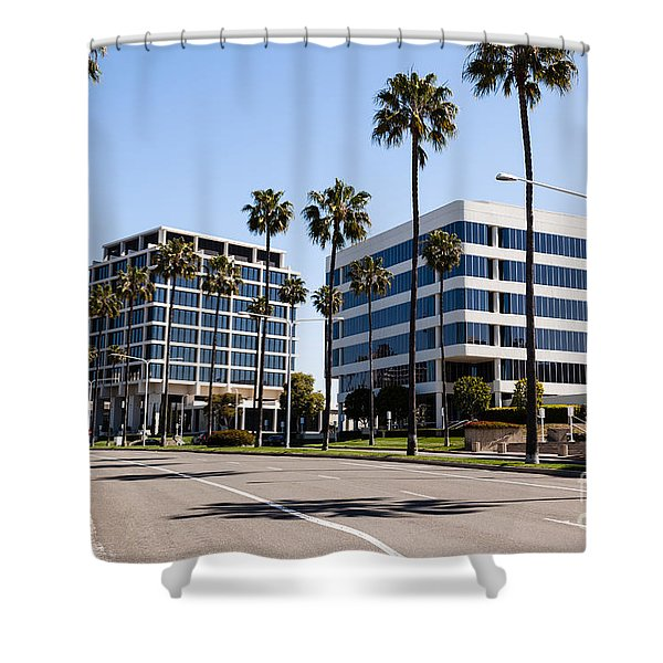 Newport Beach Office Buildings Orange County California Shower Curtain by Paul Velgos
