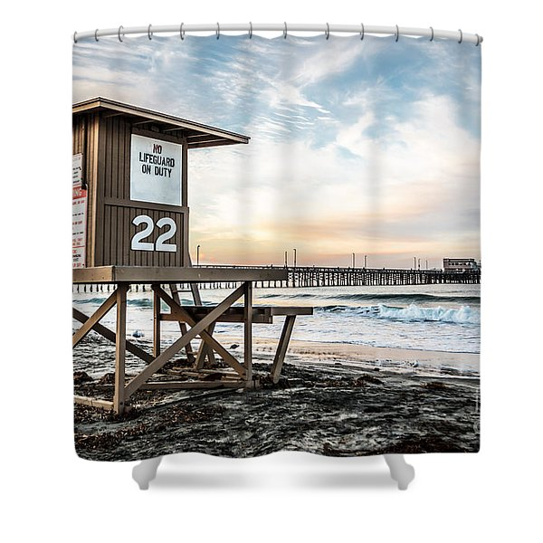 Newport Beach Pier and Lifeguard Tower 22 Photo Shower Curtain by Paul Velgos