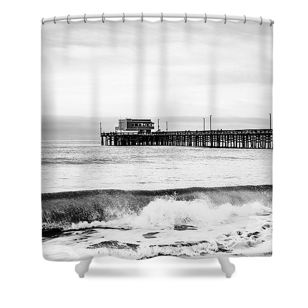 Newport Beach Pier Shower Curtain by Paul Velgos