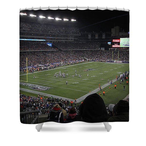 NFL Patriots and Tom Brady Showtime Shower Curtain by Juergen Roth
