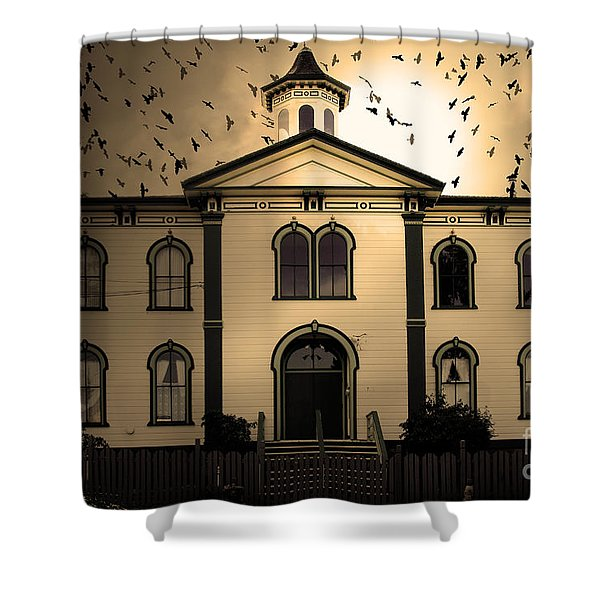 Night of The Birds . Sepia . 7D12487 Shower Curtain by Wingsdomain Art and Photography