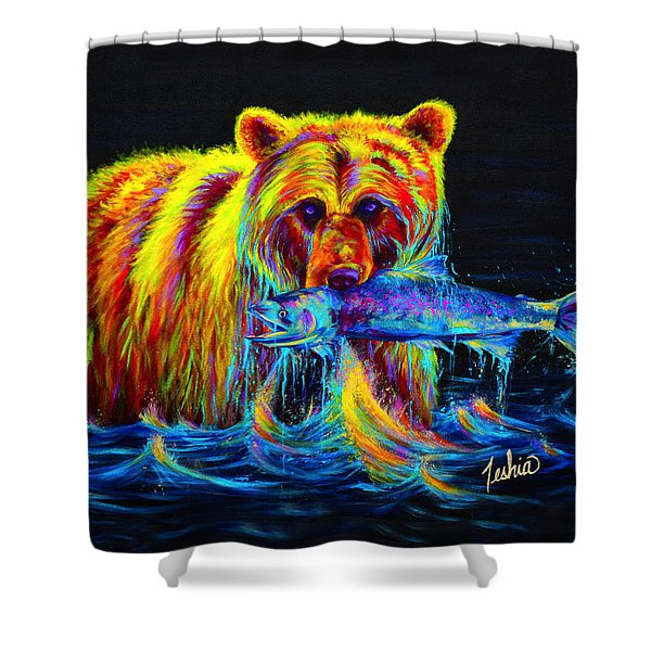 Night of the Grizzly Shower Curtain by Teshia Art