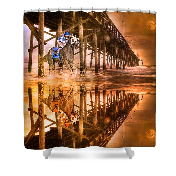 Night Run III Patriotic  Shower Curtain by Betsy C  Knapp