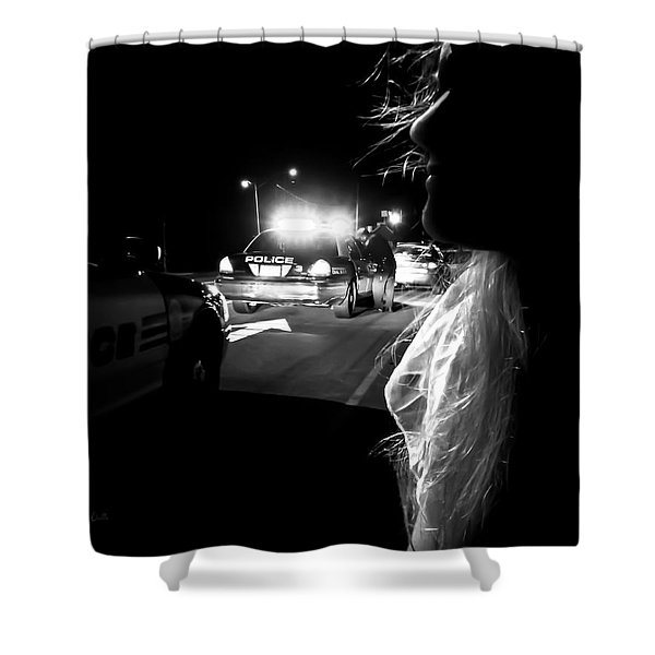 Night Traffic Stop Three Shower Curtain by Bob Orsillo