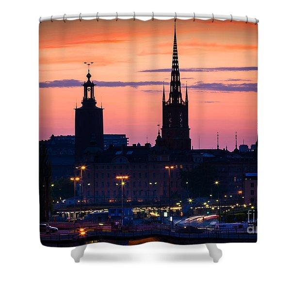 Nightsky Over Stockholm Shower Curtain by Inge Johnsson