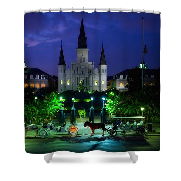 Nighttime Over Jackson Square In New Orleans Shower Curtain by Mountain Dreams