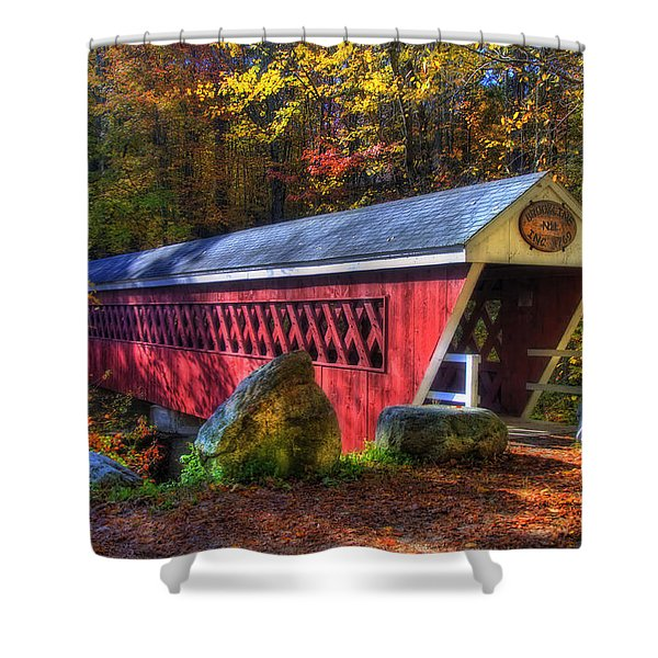 Nissitissit Bridge Brookline NH Shower Curtain by Joann Vitali