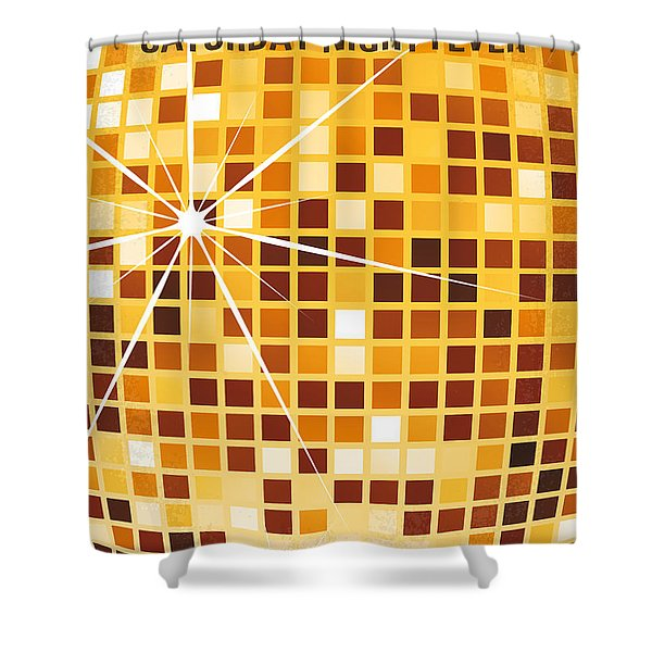 No074 My saturday night fever minimal movie poster Shower Curtain by Chungkong Art