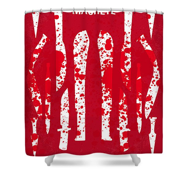 No114 My Machete Minimal Movie Poster Shower Curtain by Chungkong Art