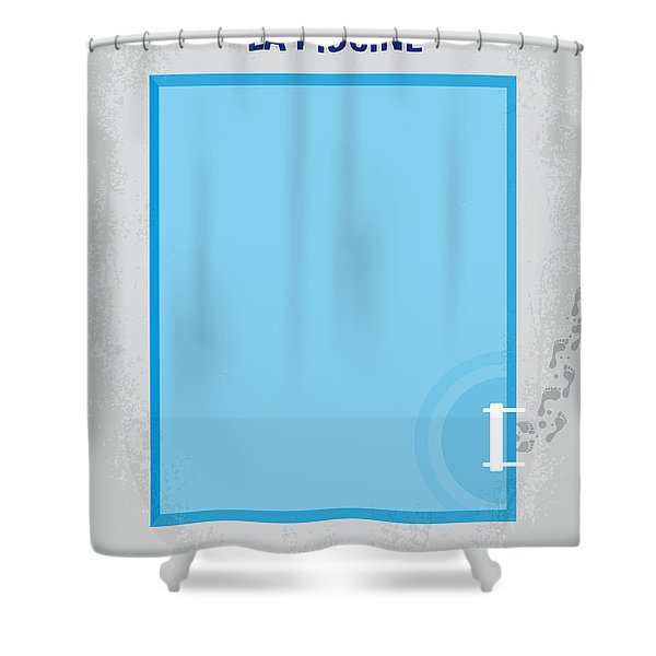 No137 My La Piscine Minimal Movie Poster Shower Curtain by Chungkong Art