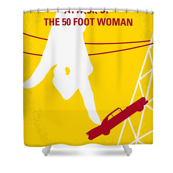 No276 My Attack Of The 50 Foot Woman Minimal Movie Poster Shower Curtain by Chungkong Art