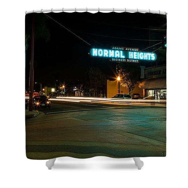 Normal Heights Neon Shower Curtain by John Daly