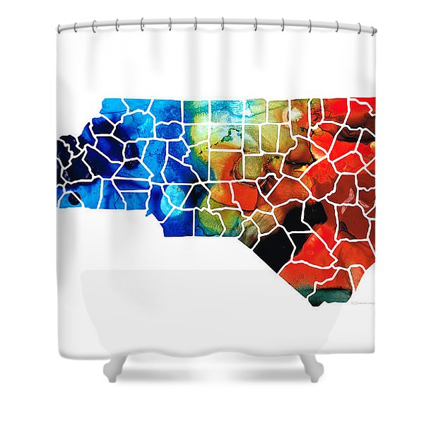 North Carolina - Colorful Wall Map by Sharon Cummings Shower Curtain by Sharon Cummings