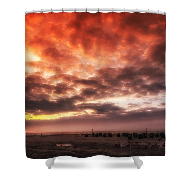North Sea Sunset Shower Curtain by Mountain Dreams