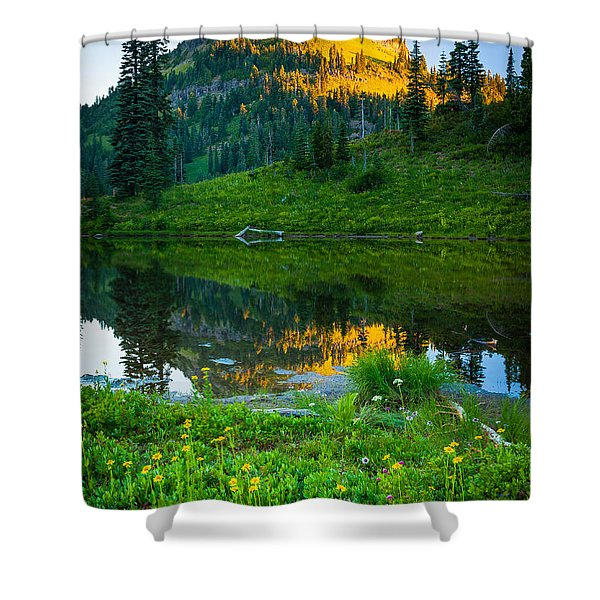 Northwest Sunrise Shower Curtain by Inge Johnsson
