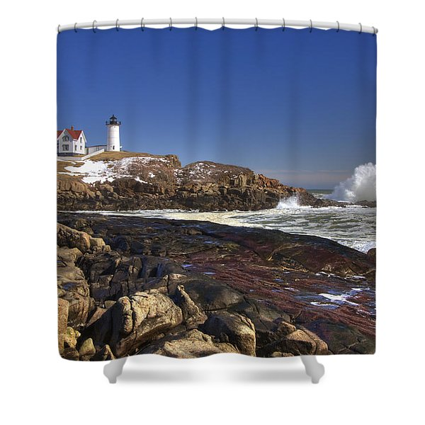 Nubble Light  Shower Curtain by Joann Vitali