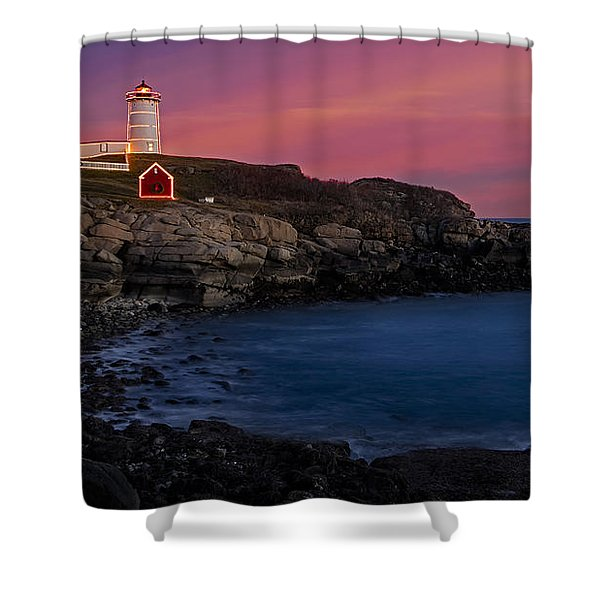 Nubble Lighthouse At Sunset Shower Curtain by Susan Candelario