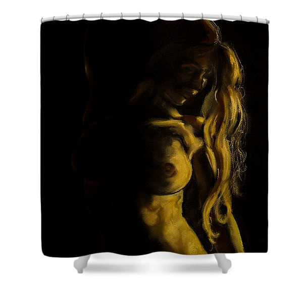 Nude - Chiaroscuro Shower Curtain by Dorina  Costras