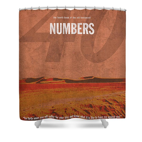 Numbers Books of the Bible Series Old Testament Minimal Poster Art Number 4 Shower Curtain by Design Turnpike