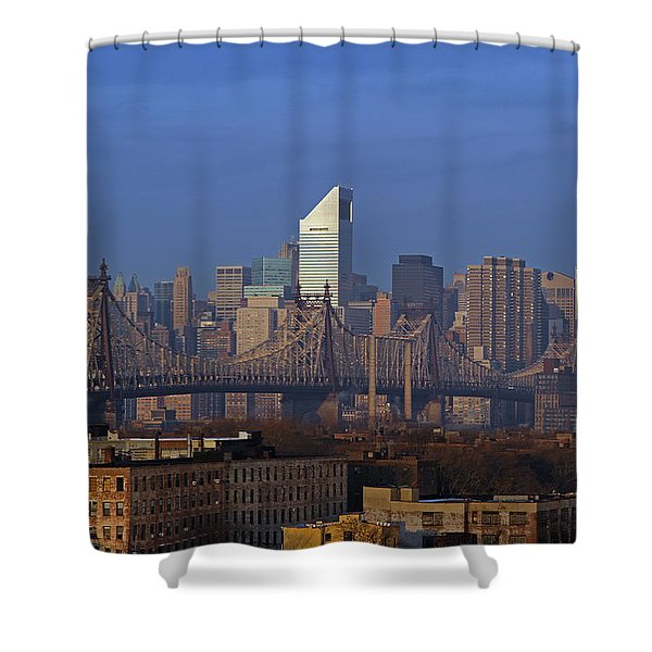 Nyc Citicorp Center And Queensboro Bridge Shower Curtain by Juergen Roth