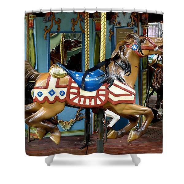 NYC - Old Glory Pony Shower Curtain by Richard Reeve