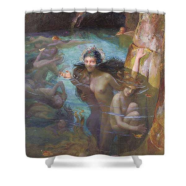 Nymphs At A Grotto Shower Curtain by Gaston Bussiere
