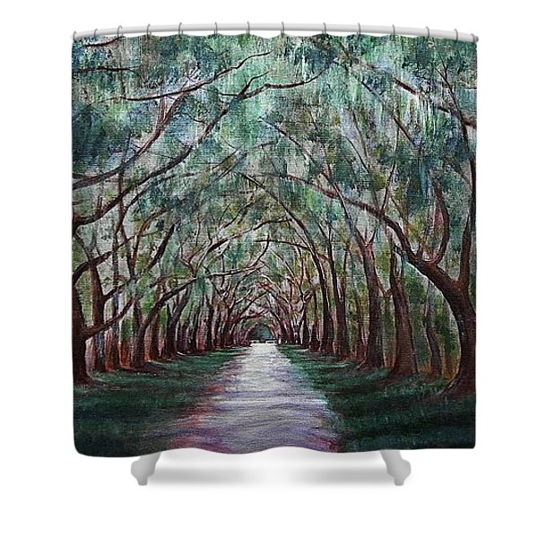 Oak Avenue Shower Curtain by Anastasiya Malakhova