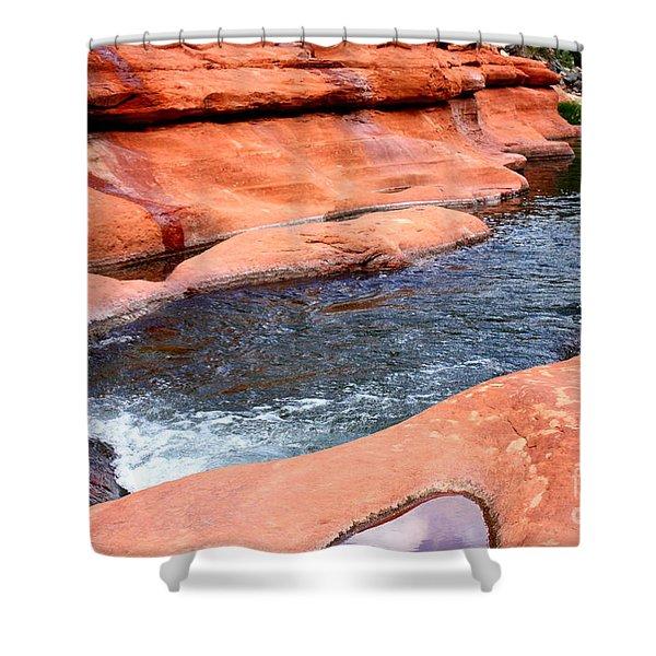 Oak Creek at Slide Rock Shower Curtain by Carol Groenen