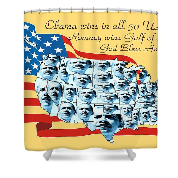 Obama Victory Map America 2012 - Poster Shower Curtain by Peter Fine Art Gallery  - Paintings Photos Digital Art