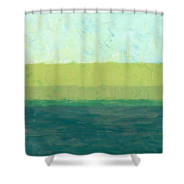 Ocean Blue and Green Shower Curtain by Michelle Calkins