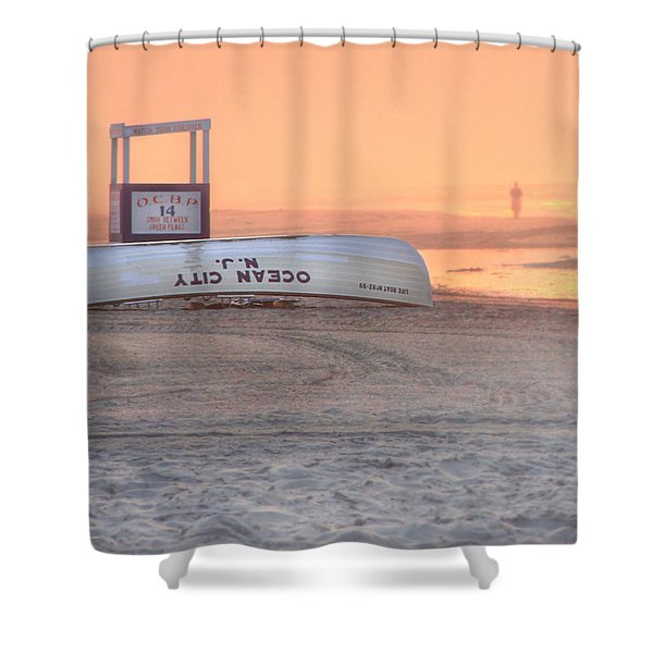 Ocean City Beach Patrol Shower Curtain by Lori Deiter