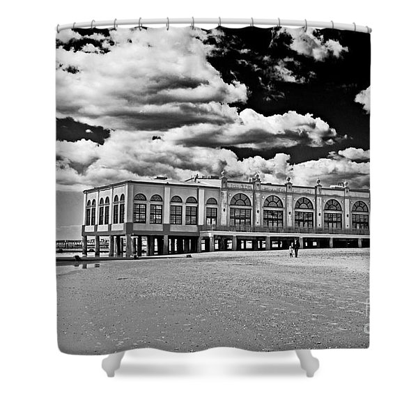 Ocean City Music Pier In Black And White Shower Curtain by Tom Gari Gallery-Three-Photography