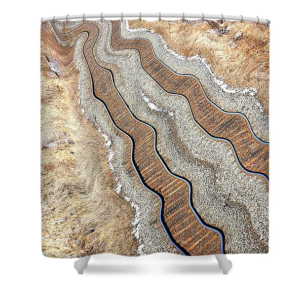 Off Tracks Shower Curtain by Valentino Visentini