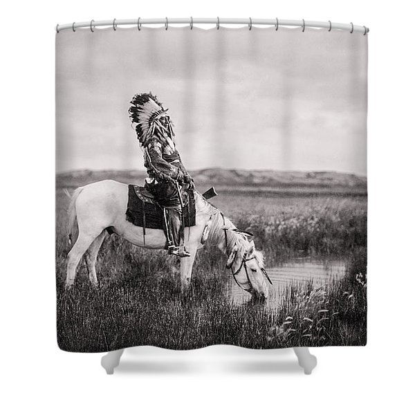 Oglala Indian Man circa 1905 Shower Curtain by Aged Pixel