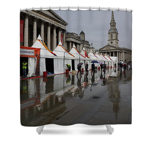 Oh So London - Rain Puddles And Reflections Shower Curtain by Georgia Mizuleva
