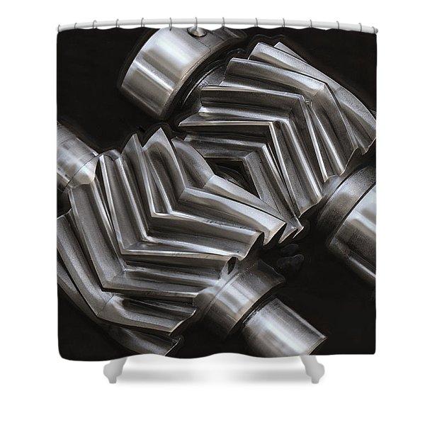 OIL PUMP GEARS Shower Curtain by Daniel Hagerman