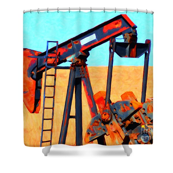 Oil Pump - Painterly Shower Curtain by Wingsdomain Art and Photography