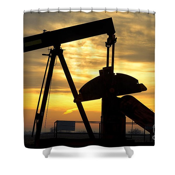 Oil Well Pump Sunrise Shower Curtain by James BO  Insogna